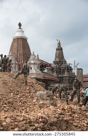 KATHMANDU, NEPAL - APRIL 29, 2015: Patan dubar Square which was severly damaged after the major earthquake on 25 April 2015. - stock photo