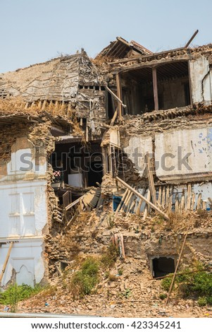 KATHMANDU, NEPAL-APRIL 25: Street of Kathmandu 25, 2016 in Kathmandu, Nepal. Street view of capital city of Napal