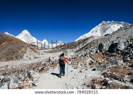 Kathmandu, Nepal - December 22, 2012:  Hikers are walking to mount Everest base camp. taking photos of Himalayan mountains.
