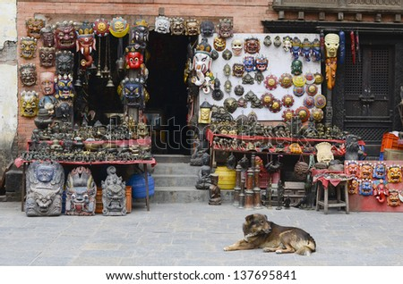 KATHMANDU, NEPAL - JANUARY 6: The Shop sells souvenirs in Durbar Square, it is one of the three royal cities in the Kathmandu, a very popular spot for tourists. January 6, 2009 in Kathmandu, Nepal.