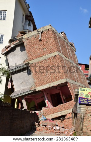 Kathmandu Nepal - May 4 2015 : Collapsed building after earthquake disaster