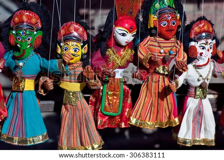 KATHMANDU, NEPAL - MAY 13:  Famous Nepalese puppet show performing at center of Durbar Squar during Kathmandu street Festival on May 13, 2013 in Kathmandu, Nepal