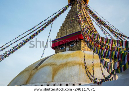 KATHMANDU, NEPAL - NOVEMBER 13, 2014: Photo of Boudhanath stupa, which is one of the largest spherical stupas in Nepal. It is decorated with colorful Buddhist flags.