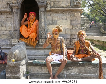 KATHMANDU-OCT 7: Sadhu Holy men at Pashupatinath Temple in Kathmandu, Nepal on October 7, 2008. The two primary sectarian divisions in sadhu community are Shaiva sadhus and Vaishnava sadhus.