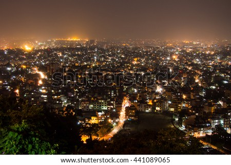 Kathmandu Valley in night light.
