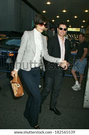 Katie Holmes, Tom Cruise out and about for ALL MY SONS in Previews Before Broadway Opening, Gerald Schoenfeld Theatre, New York, NY, October 11, 2008 - stock photo