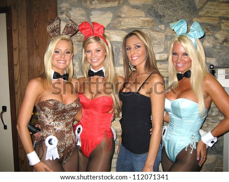 Katie Lohmann, Amanda Paige and Tina Jordan at the Milwaukee's Best Party, Playboy Mansion, Beverly Hills, CA 03-08-07 - stock photo