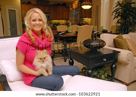 Katie Lohmann  photo shoot for Purebred Breeders with ner new dog  Cody, Private Location, Brentwood, CA. 01-21-10