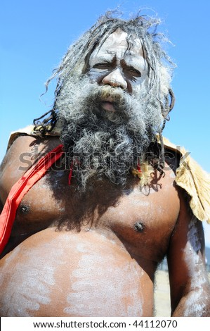 KATOOMBA, AUSTRAILIA - NOV 26: An unidentified aboriginal man on Nov 26, 2009 in Katoomba, Australia. - stock photo