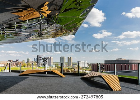 KATOWICE, POLAND - APRIL 25, 2015: Observation deck on the roof of newly launched The International Conference Centre, officially opened during European Economic Congress, held on 20-22 April, 2015. - stock photo