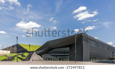 KATOWICE, POLAND - APRIL 25, 2015: The International Conference Centre, newly launched modern complex, officially opened during inaugural event, European Economic Congress, held on 20-22 April, 2015. - stock photo