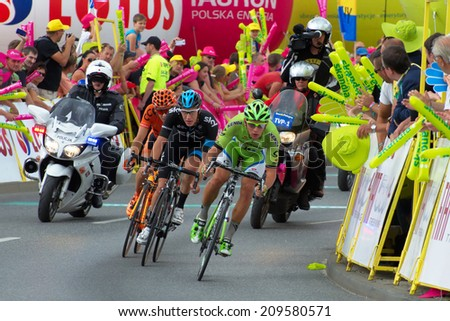 KATOWICE, POLAND - AUGUST 06: 71 Tour de Pologne, the biggest cycling event in Eastern Europe, participants of 4th stage from Tarnow to Katowice, August 06, 2014 in Katowice, Poland - stock photo