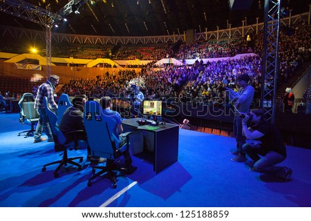 KATOWICE, POLAND - JANUARY 19: Main stage at Intel Extreme Masters 2013 - Electronic Sports World Cup on January 19, 2013 in Katowice, Silesia, Poland. - stock photo