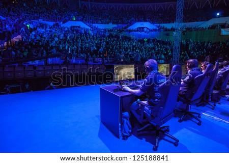 KATOWICE, POLAND - JANUARY 19: SK Gaming (clan) at Intel Extreme Masters 2013 - Electronic Sports World Cup on January 19, 2013 in Katowice, Silesia, Poland. - stock photo