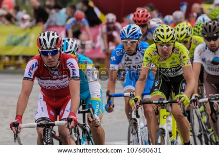 KATOWICE, POLAND - JULY 13: 69 Tour de Pologne, the biggest cycling event in Eastern Europe, participants of 4th stage from Bedzin to Katowice, July 13, 2012 in Katowice, Poland