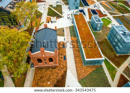 KATOWICE, POLAND OCT 06, 2015: The former coal mine Katowice, seat of the Silesian Museum. The complex combines old mining buildings and infrastructure with modern architecture. Top view