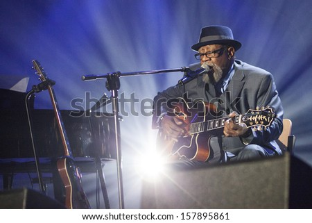KATOWICE, POLAND - OCTOBER 5: Otis Taylor Band at Rawa Blues Festival - The biggest in-door blues festival in the world on October 5, 2012 in Katowice, Silesia, Poland.