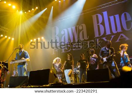 KATOWICE, POLAND - OCTOBER 11: Robert Randolph & The Family Band at Rawa Blues Festival - The world's biggest indoor blues festival on October 11th, 2014 in Katowice, Silesia, Poland.  - stock photo