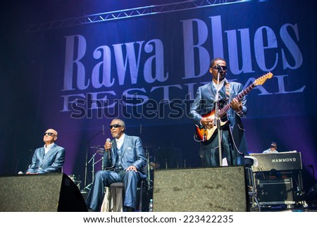 KATOWICE, POLAND - OCTOBER 11: The Blind Boys of Alabama at Rawa Blues Festival - The world's biggest indoor blues festival on October 11th, 2014 in Katowice, Silesia, Poland.  - stock photo