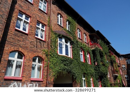 Katowice, Upper Silesia region in Poland. Architecture in historic Nikiszowiec district.