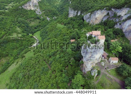 Katskhi pillar and the Orthodox Church on it, filmed in Georgia, from the air quadrocopters DJI - stock photo