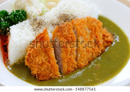 Katsu Kare - Japanese breaded deep fried pork cutlet (tonkatsu) served with steamed rice, salad and curry sauce. - stock photo