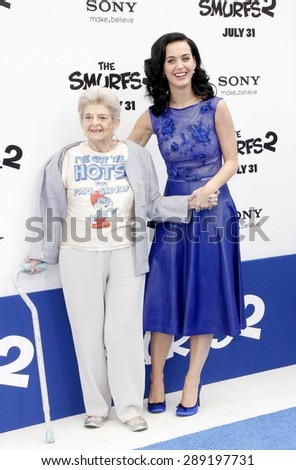 "Katy Perry and Ann Hudson at the Los Angeles premiere of ""Smurfs"" held at the Regency Village Theater in Westwood on July 28, 2013. - stock photo"