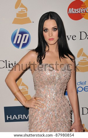 Katy Perry at the 2011 Clive Davis pre-Grammy party at the Beverly Hilton Hotel. February 12, 2011  Beverly Hills, CA Picture: Paul Smith / Featureflash - stock photo