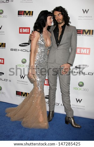 Katy Perry & Russell Brand arriving at the EMI Post Grammy Party 2010 W Hotel Hollwood Los Angeles, CA January 31, 2010 - stock photo
