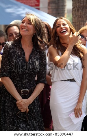 Katy Segal, Sofia Vergara at the Ed O'Neill Hollywood Walk Of Fame Induction Ceremony, Hollywood, CA. 08-30-11 - stock photo