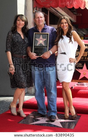 Katy Segal, Sofia Vergara, Ed O'Neill at the Ed O'Neill Hollywood Walk Of Fame Induction Ceremony, Hollywood, CA. 08-30-11 - stock photo