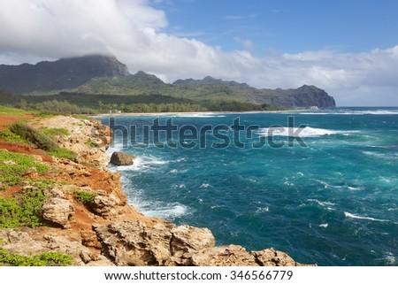 Kauai coastline - stock photo