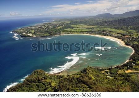 Kauai, Hawaii view from helicopter - stock photo