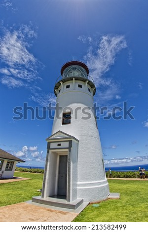 kauai lighthouse kilauea point hawaii island - stock photo