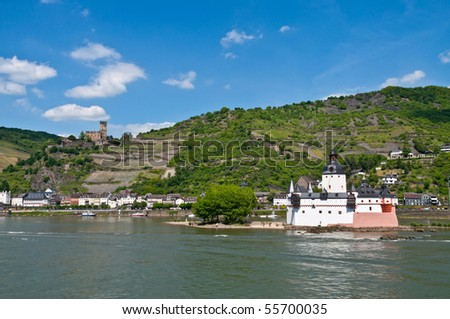 Kaubburg and Gutenfels castle ( world culture heritage ) - stock photo