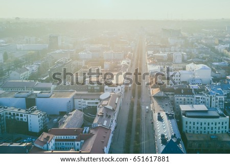 Kaunas city center in the early spring morning, drone aerial view