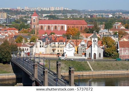 Kaunas city view in the autumn