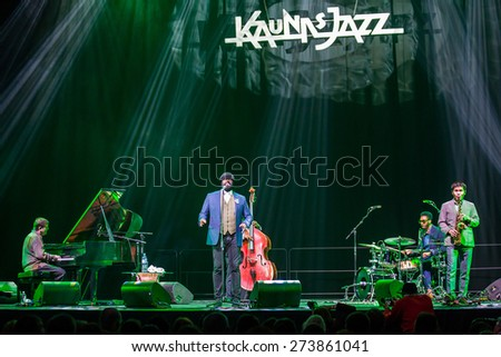 "KAUNAS, LITHUANIA - APRIL 26, 2015:Grammy winner jazz singer Gregory Porter performs at the stage of ""Kaunas Jazz"" festival.  - stock photo"