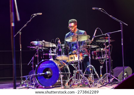 "KAUNAS, LITHUANIA - APRIL 26, 2015: Jazz drummer Emanuel Harrold performs at the stage of ""Kaunas Jazz"" festival. - stock photo"
