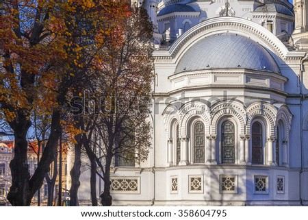 Kaunas, Lithuania: Cathedral of St. Michael the Archangel in autumn - stock photo