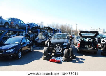 KAUNAS, LITHUANIA - MARCH 29 2014:  Market of second hand used cars in Kaunas city.  On March 29, 2014 in Kaunas, Lithuania. - stock photo