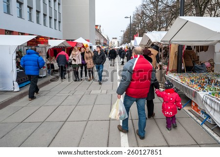 KAUNAS, LITHUANIA - MARCH 13: Traditional crafts fair - KAZIMIERAS fair in Kaunas on March 13, 2015, Kaunas, Lithuania.
