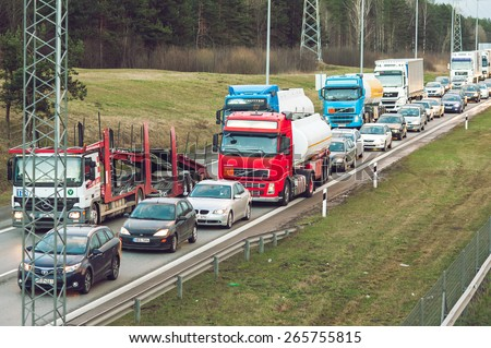 KAUNAS, LITHUANIA - MARCH 31: Traffic jam in highway A1 (Vilnius-Klaipeda) on March 31, 2015, Kaunas, Lithuania