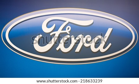 KAUNAS, LITHUANIA - SEPTEMBER 19: Ford logo on September 19, 2014 in Kaunas, Lithuania. The Ford Motor Company is an American multinational automaker. Ford is the second-largest U.S.- based automaker. - stock photo