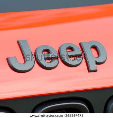 KAUNAS - MAR 26: Close-up of Jeep logo on Mar. 26, 2015 in Kaunas, Lithuania. Jeep is a brand of American automobiles that is a division of FCA US LLC, owned subsidiary of Fiat Chrysler Automobiles. - stock photo