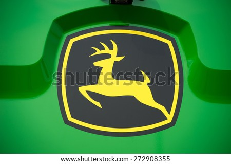 KAUNAS-MAR 26: John Deere Logo on Mar. 26, 2015 in Kaunas, Lithuania. Deere & Company-John Deere is an American corporation. Manufactures agricultural, construction, forestry machinery, diesel engines - stock photo