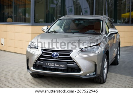 KAUNAS - MAR 26: Lexus NX 300h Hybrid crossover on display on Mar. 26, 2015 in Kaunas, Lithuania. The Lexus NX is a luxury compact crossover to be sold by Lexus, the luxury division of Toyota. - stock photo