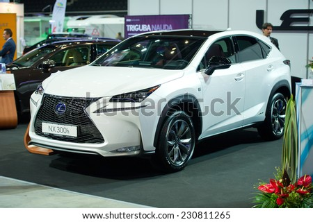 KAUNAS - SEP 19: Lexus NX 300h crossover on display on Sep. 19, 2014 in Kaunas, Lithuania. The Lexus NX is a luxury compact crossover to be sold by Lexus, the luxury division of Toyota. - stock photo