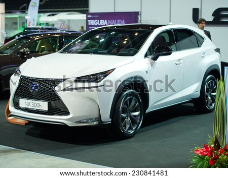 KAUNAS - SEP 19: Lexus NX 300h crossover on display on Sep. 19, 2014 in Kaunas, Lithuania. The Lexus NX is a luxury compact crossover to be sold by Lexus, the luxury division of Toyota.