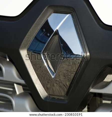 KAUNAS - SEP 19: Renault logo on Sep. 19, 2014 in Kaunas, Lithuania. Renault S.A. is a French car manufacturer producing cars, vans, buses, trucks, tractors, tanks, buses/coaches and autorail vehicles - stock photo